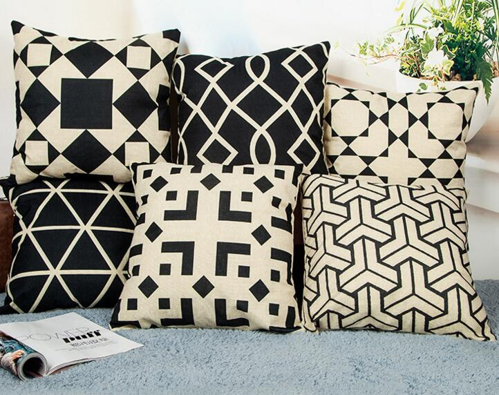 Custom logo printing geometric figure shape flax cushion pillow cover