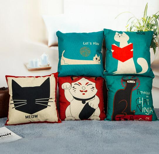 Custom animal cat shape square shpae flax cushion pillow cover
