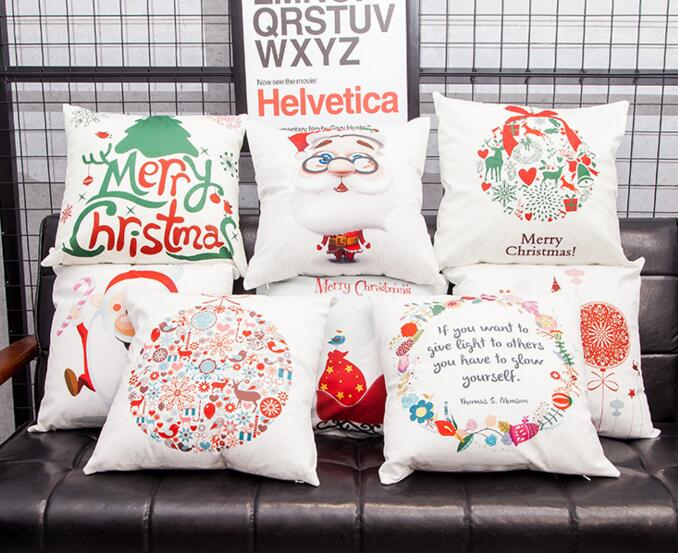 Custom logo printing christmas printing square flax cushion pillow cover for chirstmas gifts