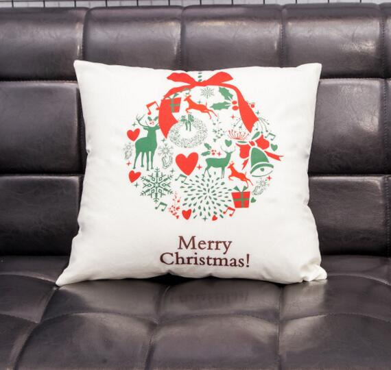Custom logo digital printing christmas gifts square shape flax cushion pillow cover