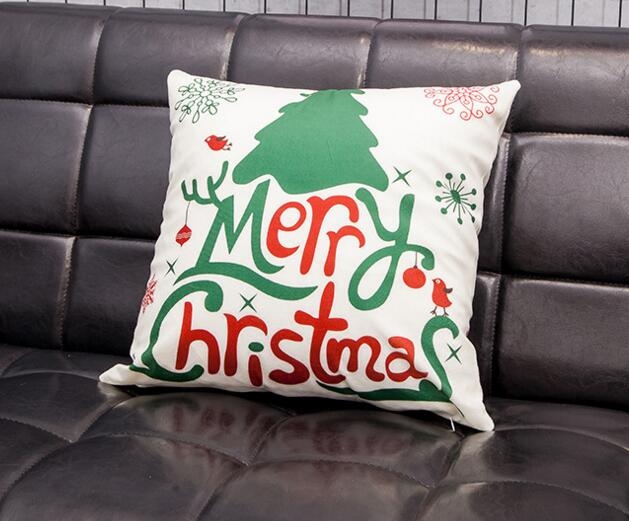 Digital printing christmas design square shape flax cushion pillow cover