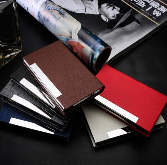 Good quality brown color or red color stainless steel and pu metal business name card holder