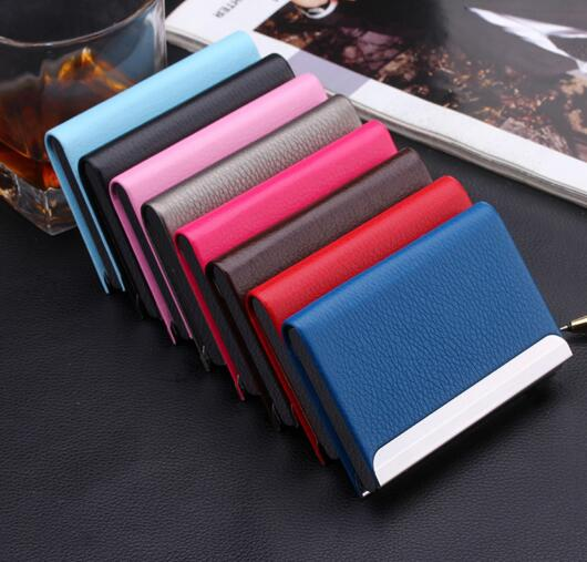 Fashion style colorful pu color business name card holder