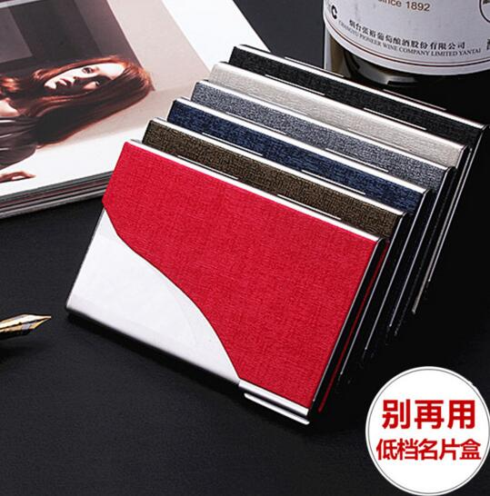 Fashion style blue or red color pu business metal name card holder
