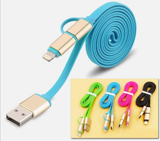 Promotional blue color 2 in 1 micro usb cable for mobile phone