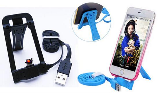 Promotional with mobile phone holder function 3 in 1 usb cable