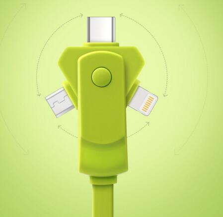 New style360 degree green color 3 in 1 folding usb cable for mobile phone
