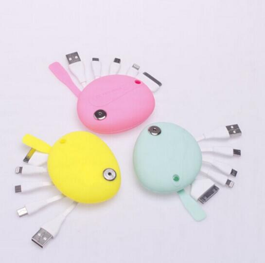 Pink color smile shape 4 in 1 usb cable for mobile phone