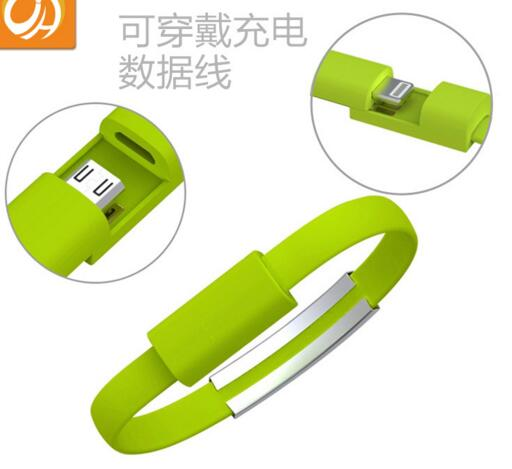 Promotional green color usb cable or date line bracelet
