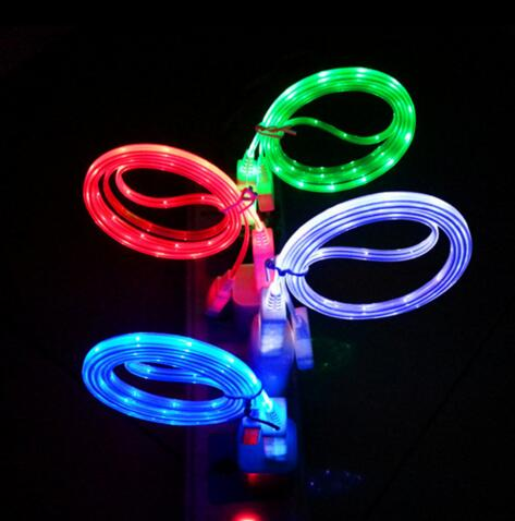 Promotional fashional style flashlight usb cable for mobile phone