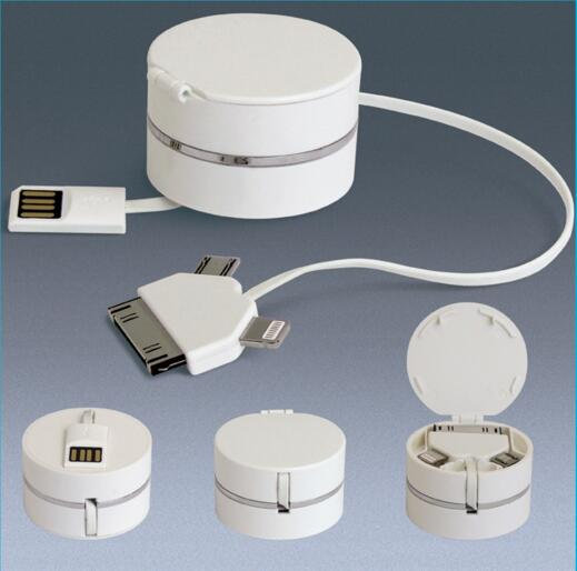 New style round box shape with usb flash disk and 3 in 1 usb charger cable for office gift