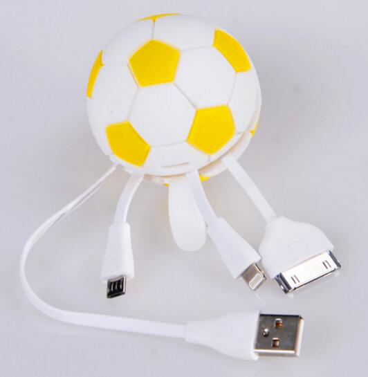 Promotional football shape 4 in 1 usb charger cable for mobile phone