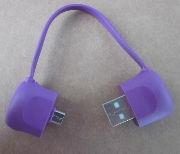 Promotional bag shape purple color usb charger cable for mobile phone