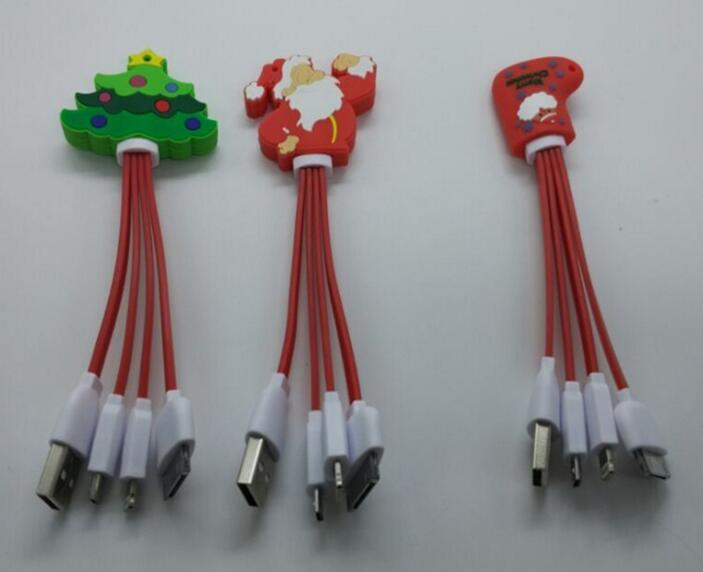 Chirtsmas tree and sock shape 3 in1 usb charger cable