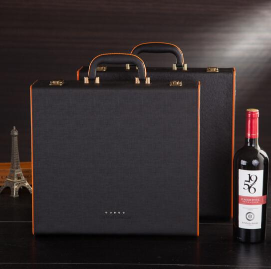 High quality black color and brown color wine bottle box for 2 bottle