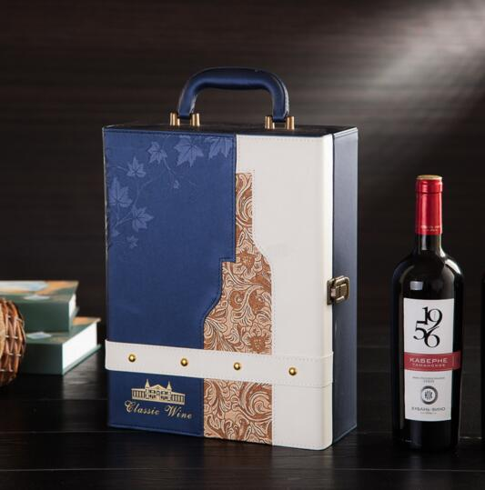 Luxury style blue color pu wine box for 2 wine bottle