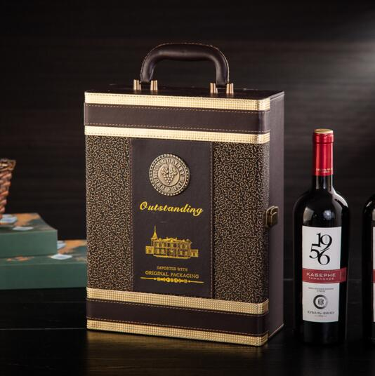 Luxury style brown color pu wine box for 2 bottle