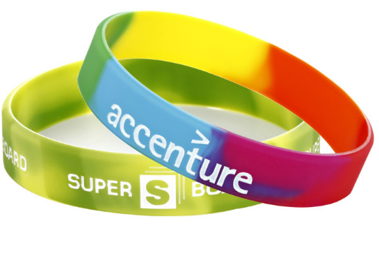 Promotional rainbow color emboss and printing silicone wristband