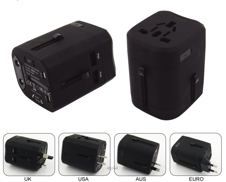Customize logo good quality universal travel adaptor
