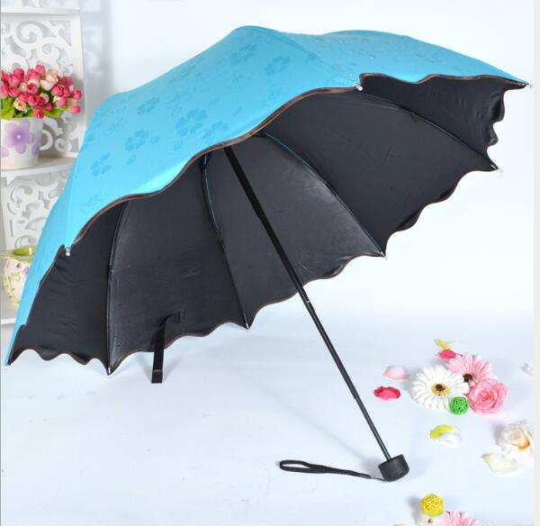 Popular water bloom flower sunshade umbrellas magic rain umbrella