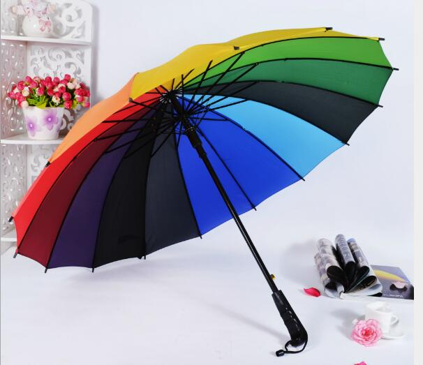 Rainbow color 16 ribs straight big size umbrella for double pepole