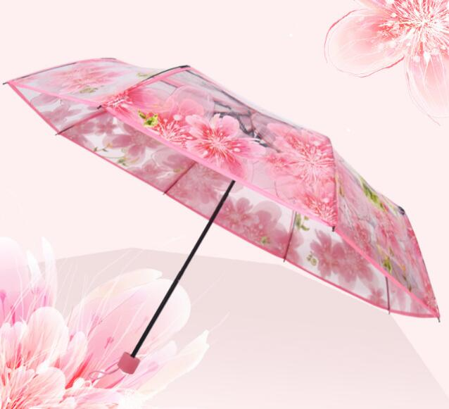 Customize cherry design 3 folding clear umbrella