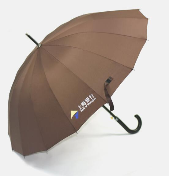 Customize logo brown color straight j hook umbrella