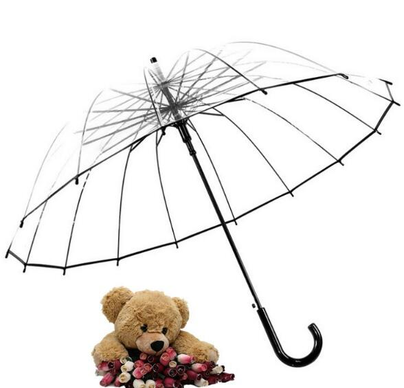 Promotional oem logo 16 ribs clear transparent umbrella