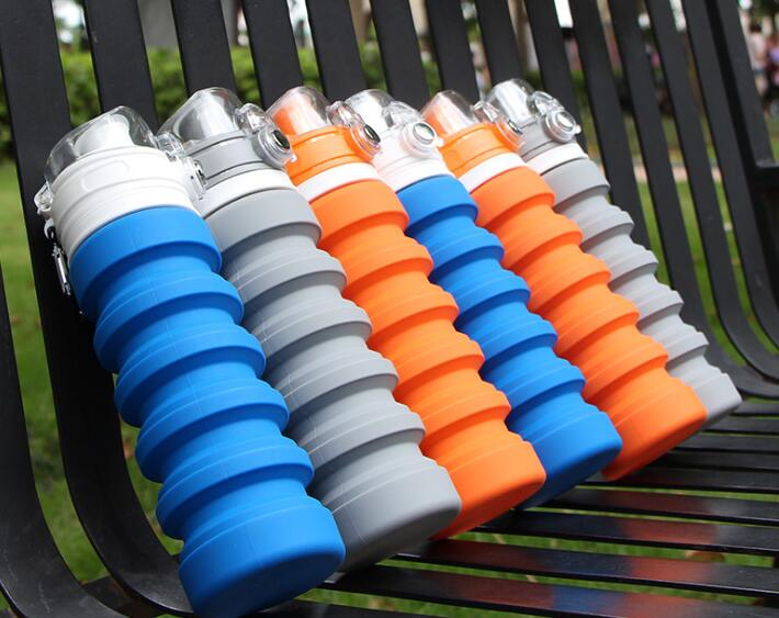 Popular 500ml silicone foldable sport bottle for outside travel
