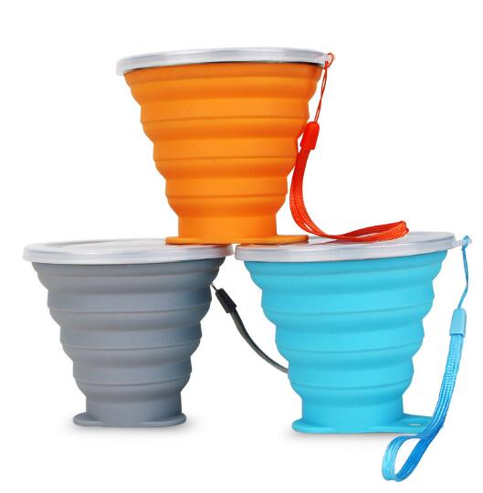 Promotional oem logo 270ml silicone sport foldable cup